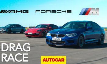 Drag race: BMW M5 v Mercedes-AMG E63 S v Porsche Panamera Turbo S E-Hybrid   Autocar