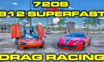 Ferrari 812 Superfast vs McLaren 720S 1/4 Mile Drag Racing with VBOX Data
