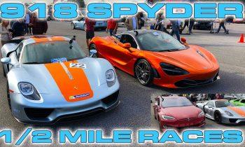 Porsche 918 Spyder vs McLaren 720S & Tesla P100D Drag Racing 1/2 Mile