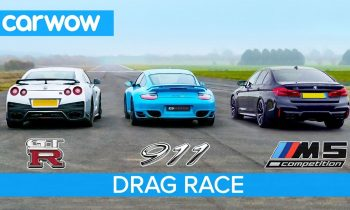 Nissan GT-R vs Porsche 911 Turbo vs BMW M5 Comp – £100K DRAG RACE, ROLLING RACE & BRAKE TEST