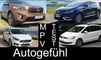 Best Fullsize MPV Van comparison test Renault Espace vs VW Volkswagen Sharan Ford S-MAX Kia Sorento